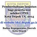 Pengumuman Jadwal Pemberkasan Seleksi Penerimaan CPNS TA. 2014