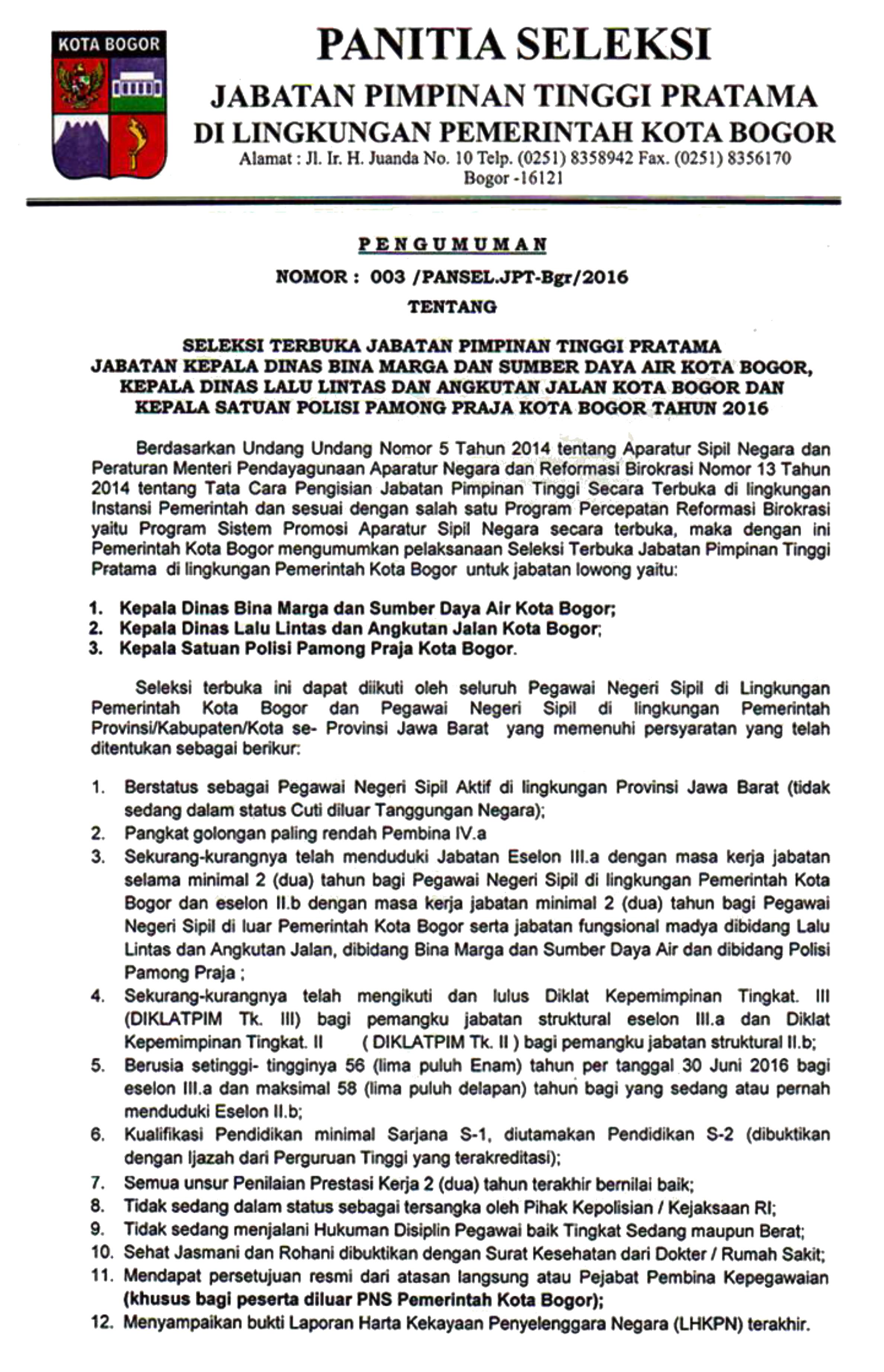 Seleksi Terbuka Jabatan Pimpinan Tinggi Pratama di Lingkungan Pemerintah Kota Bogor