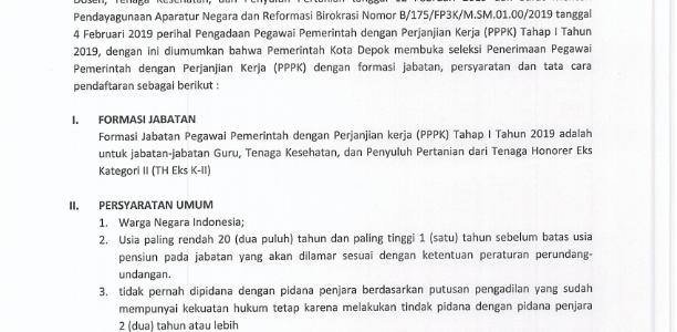 Pengumuman Penerimaan Pegawai Pemerintah dengan Perjanjian Kerja (PPPK) Kota Depok