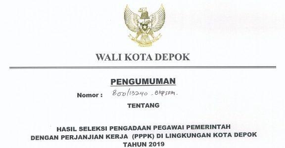 Pengumuman Hasil Pengadaan Pegawai Pemerintah dengan Perjanjian Kerja (PPPK) di lingkungan Kota Depok Tahun 2019
