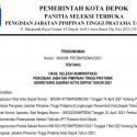 Pengumuman Hasil Seleksi Administrasi Pengisian Jabatan Pimpinan Tinggi Pratama Sekretaris Daerah Kota Depok Tahun 2021
