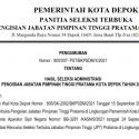 Hasil Seleksi Administrasi Pengisian JPT Pratama Kota Depok Tahun 2021